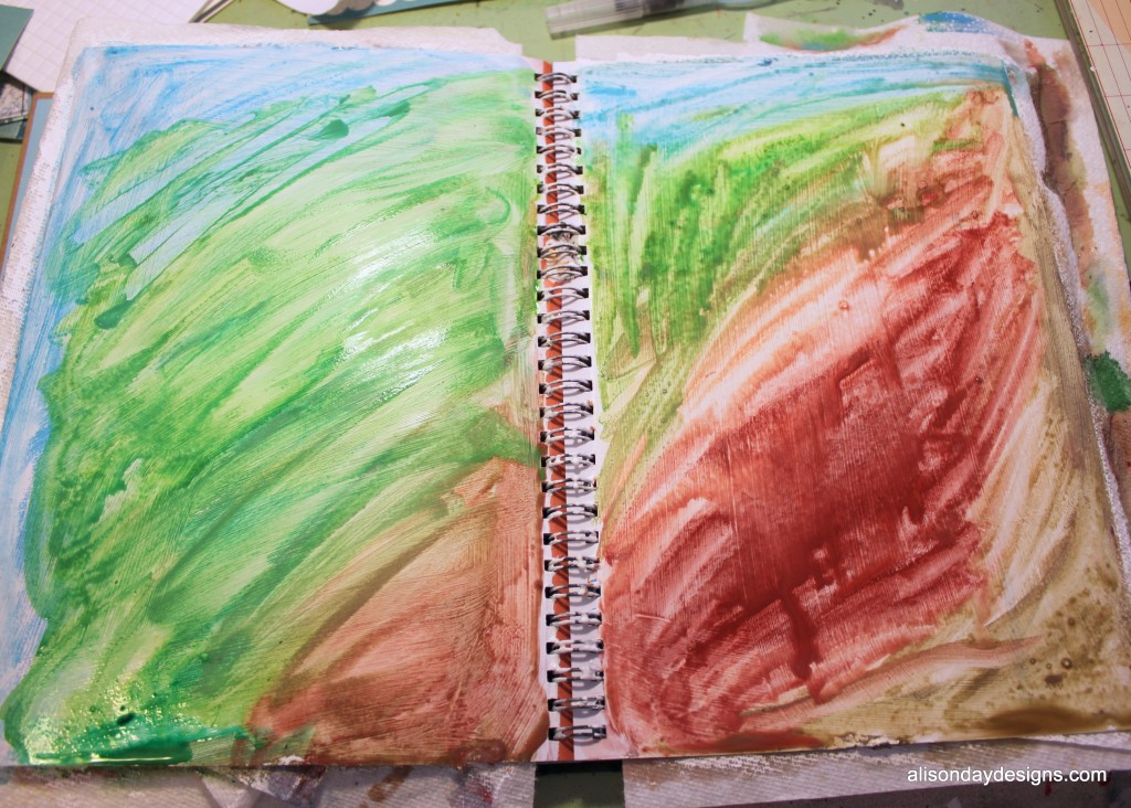 art journal page after water brushing