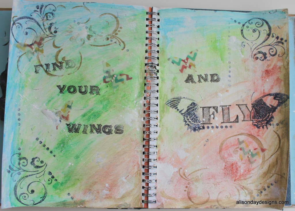 Find Your Wings and Fly art journal page
