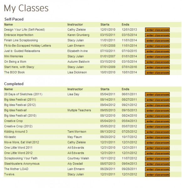 My Big Picture Classes list