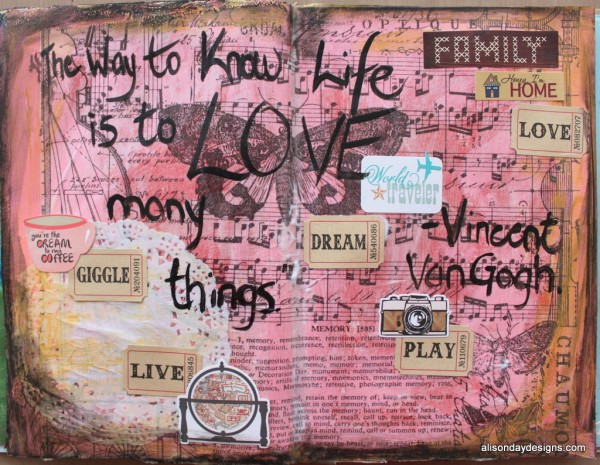 Love Many Things - an Art Journal page by Alison Day