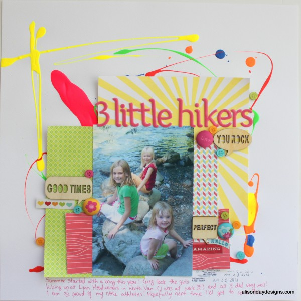 3 Little Hikers - using neon paint