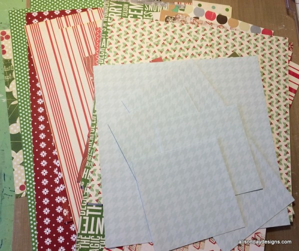 My 12x12 papers all cut up and ready to use on layouts by Alison Day Designs
