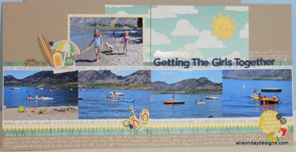Getting the Girls Together double page layout by Alison Day Designs