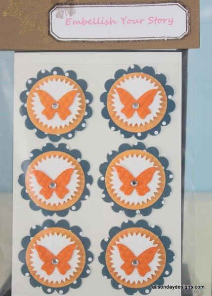 Medium layered embellishment pack - orange - by Alison Day Designs