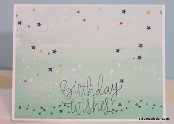 Birthday Wishes single layer card by Alison Day Designs