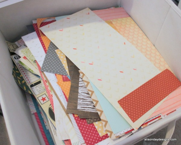 paper scraps drawer - patterned paper close up