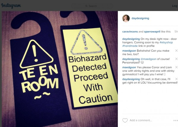 Instagram screen grab of door hangers by Alison Day Designs