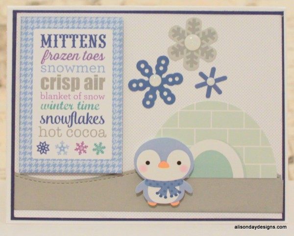 Mittens card with penguin and igloo by Alison Day Designs