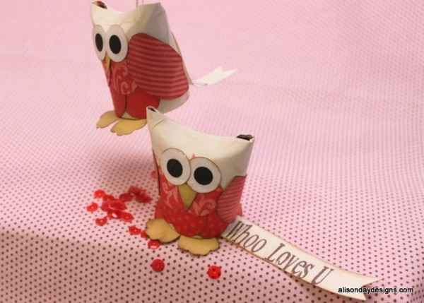 Whoo Loves U Owls from Toilet Paper rolls by Alison Day Designs