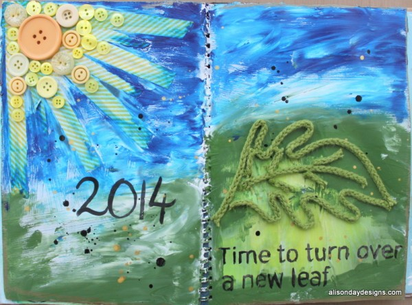 New Leaf Art Journal page by Alison Day Designs