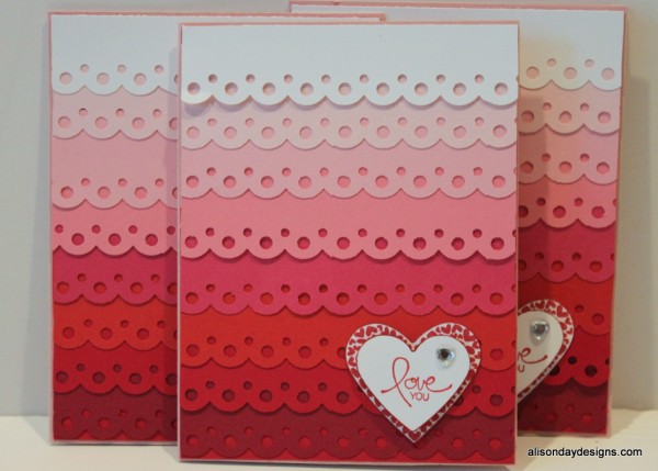 Pinterest Inspired Ombre Valentine card by Alison Day Designs