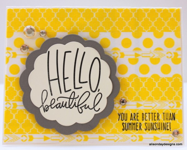 Hello Beautiful card by Alison Day Designs