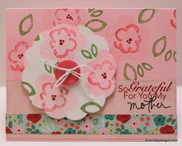 Mother's Day Stamped flowers card by Alison Day Designs