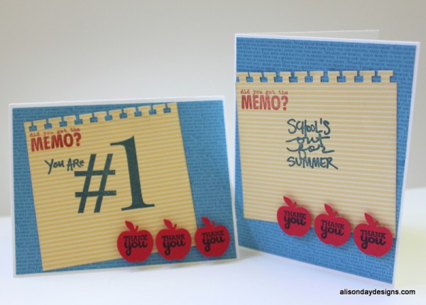 Teacher Thank You cards by Alison Day Designs