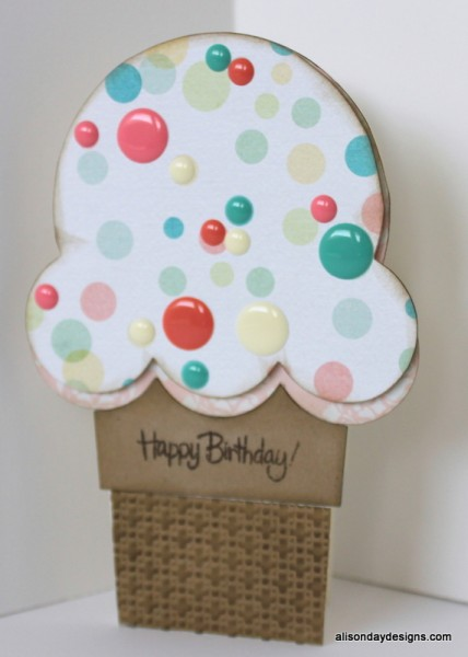 Ice Cream cone Happy Birthday Card by Alison Day