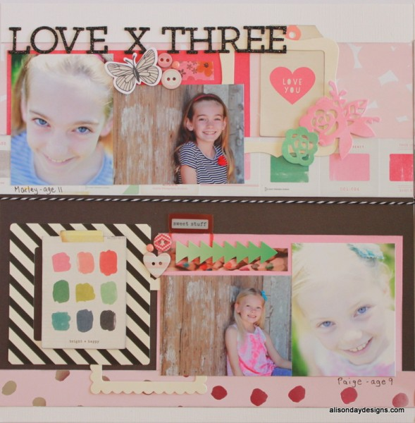 Love X Three left page by Alison Day Designs