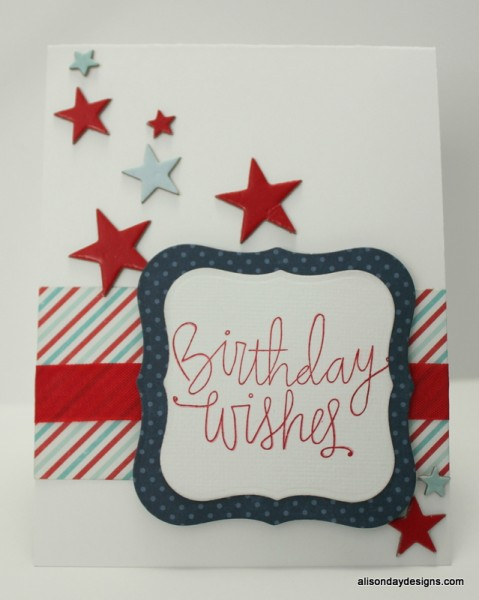 Red White and Blue Birthday Wishes card by Alison Day Designs