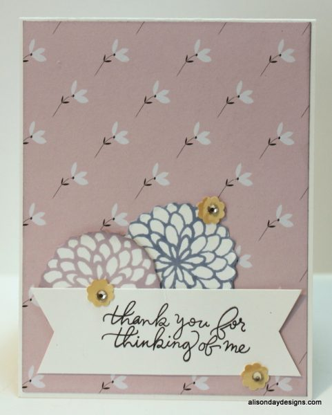 Thank You for Thinking of Me with stamped flowers by Alison Day Designs
