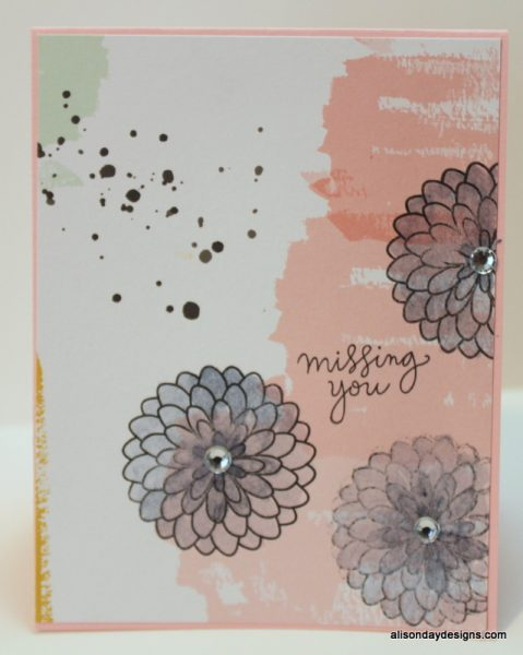 Missing You with water coloured flowers by Alison Day Designs