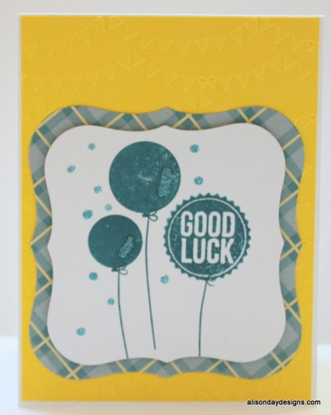 Good Luck balloons on yellow by Alison Day Designs