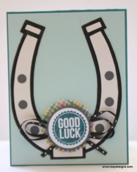 Good Luck Horseshoe on blue by Alison Day Designs