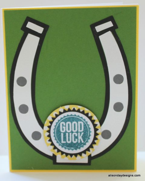 Good Luck Horseshoe on green by Alison Day Designs