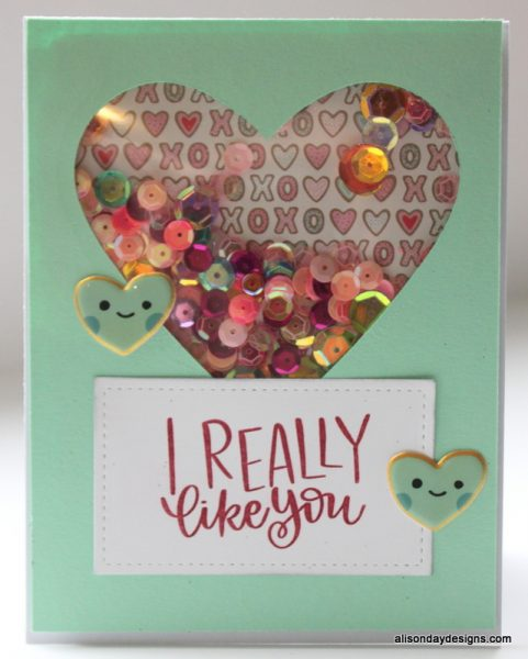 Heart Shaker Card by Alison Day Designs
