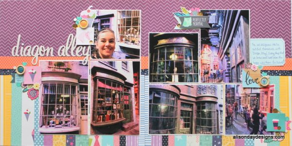 LOAD218-17 Diagon Alley double page by Alison Day
