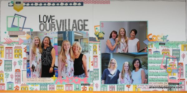 Clear The Desk #11 - Love Our Village a double page spread by Alison Day