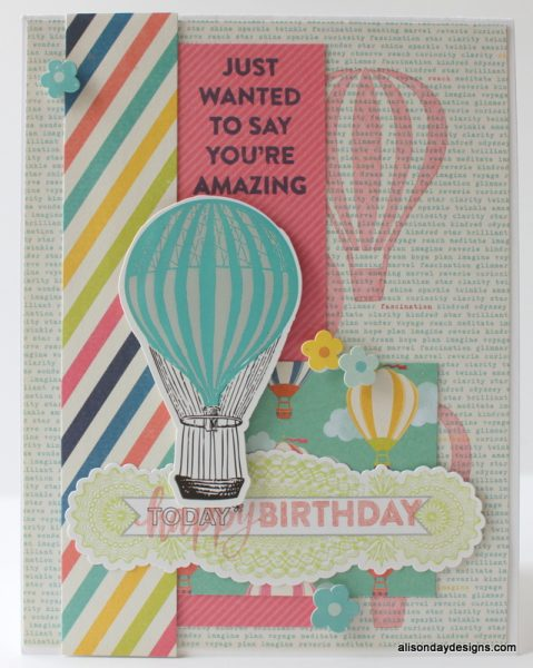 Happy Birthday hot air balloons card by Alison Day